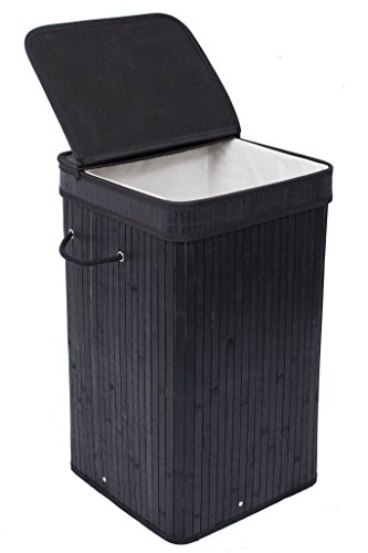 BirdRock Home Square Laundry Hamper with Lid and Cloth Liner | Bamboo | Black | Easily Transport Laundry Basket | Collapsible Hamper | String Handles (Hamper Baskets)
