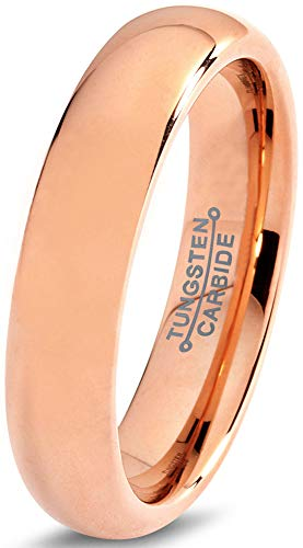 Charming Jewelers Tungsten Wedding Band Ring 5mm Men Women Comfort Fit 18k Rose Gold Plated Dome Brushed Size 9.5