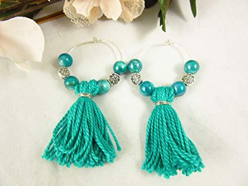 Teal Hoop Silver (Teal Glass Tassel Earrings. Silver Plated Hoop Earrings)