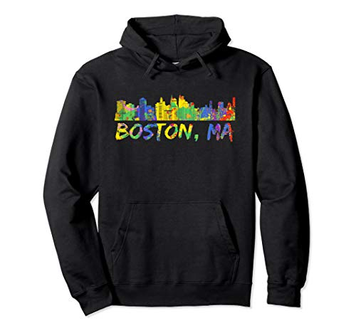 Boston Hoodie Massachusetts Skyline Paint Splash Sweatshirt ()