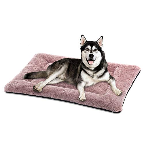 SIWA MARY Dog Bed Mat Soft Crate Pad Washable Anti-Slip Mattress for Large Medium Small Dogs and Cats Kennel Pad (42inch,Pink)