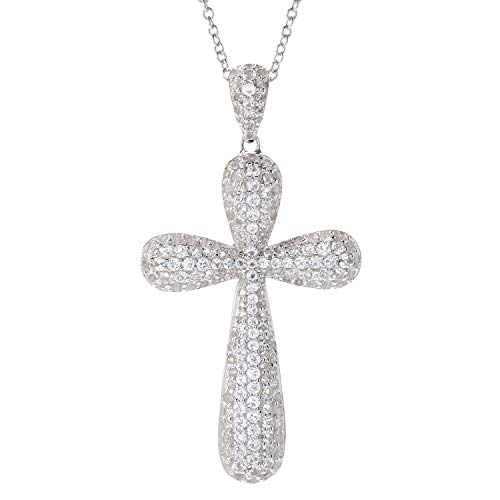 (Pinctore Sterling Silver 2.6ctw White Topaz Cross Shaped Pendant with 18' Chain)