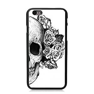 "For iPhone 6 Plus Case, Fashion Flowers Skull Pattern Protective Hard Phone Cover Skin Case For iPhone 6 Plus (5.5"") + Screen Protector hjbrhga1544"
