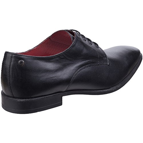 Base London Mens Shilling Waxy Leather Chiselled Tip Derby Style Shoes Black