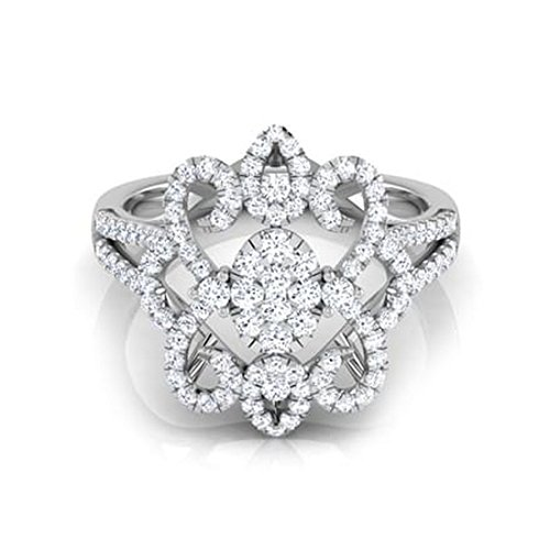 18K Or Blanc, 0,85carat Diamant Taille ronde (IJ | SI) en diamant