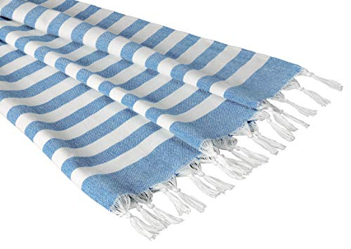 - Sandy Beaches 100% Organic Cotton Turkish Towel, Large Beach Towel/Bath Towel, 39x70. Blue and White Striped