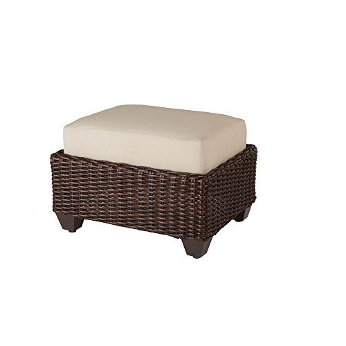 Hampton Bay Mill Valley Fully Woven Outdoor Patio Ottoman with Parchment Cushion