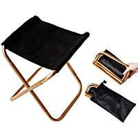 Small Folding Camping Stool, Gold Mini Step Foot Stool, Portable Golden Folding Chair with Pouch, Aluminum Lightweight…