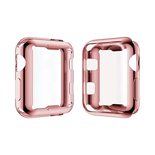 Price comparison product image Owill Ultra Thin Electroplate Clear TPU Screen Protector For Apple Watch Series 2/3 42MM,Invisible Magnetic Closure (Rose Gold)