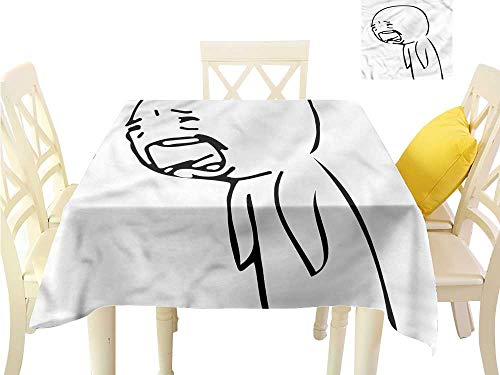 Davishouse Washable Table Cloth Online Emoji Sad Comics Waterproof/Oil-Proof/Spill-Proof Tabletop Protector W50 x L50 ()
