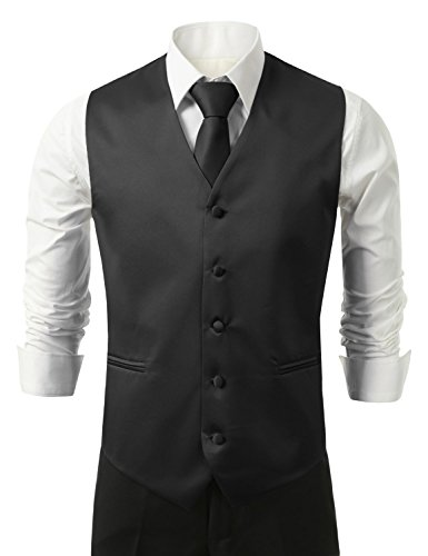 Brand Q Men's Tuxedo Vest, Tie & Pocket Square (Vest And Bow Tie)