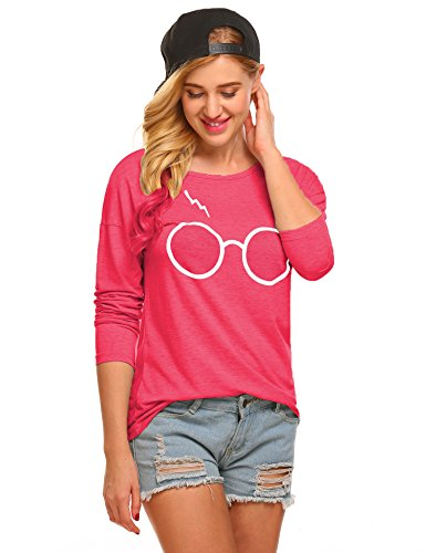 Women's Harry Potter Glasses Scar Tee Graphic Long Sleeve - For Potter Glasses Sale Harry