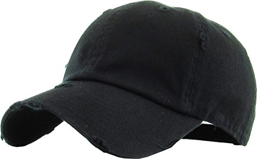 (KBETHOS Vintage Washed Distressed Cotton Dad Hat Baseball Cap Adjustable Polo Trucker Unisex Style Headwear (Vintage) Black Adjustable)