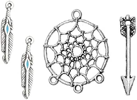jewelry making supplies dream catcher charms metal round charms silver circle charms supplies butterfly wings dangle chrams