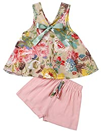YJZIWX Toddler Girls Clothes 2Pcs Flowers Tank Tops Blouse and Shorts Pants Summer Outfit Set 2-7 Years Old