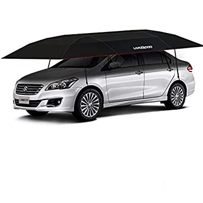 Lanmodo Pro Semi-auto Car Tent Movable Carport Folded,Car Umbrella Tent with Anti-UV,Water-Proof,Proof Wind, Snow, Storm, Hail, Falling Objects 188.97X90.5 inch (4.8M Semi-auto Without Stand, Black)