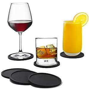 Kitchen Basix Sleek Silicone Coasters, Set of 8 - Black