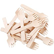 "Gmark Eco-Friendly 4"" Mini Wooden Spork 200 ct, Biodegradable Compostable Birchwood Fork Spoon 2-in-1 Utensil (200pcs/bag) GM1058"