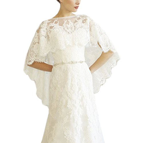 AbaoWedding Embroidered Lace Shrug Shawl Wrap Bolero Wedding Jacket for Bride Size XL - Bolero Jacket Embroidered