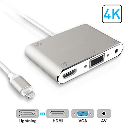 HDMI VGA AV Adapter Converter, 2019 Latest 4 in 1 Plug and Play Digtal AV Adapter Compatible for iPhone X / 8 / 8Plus/7/7Plus/6/6s/6s Plus/5/5s iPad iPod to Projector HDTV Projector Monitor (Sliver) (5 4 Adapter Iphone)