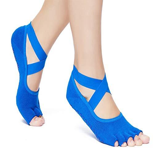 Yoga Pilates Socks Half Toe Grip Non-Slip for Ballet, Yoga, Pilates, Barre Toe Socks (blue)