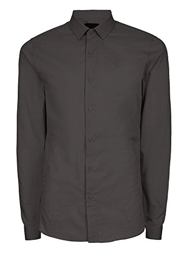 Hat and Beyond NR Mens Dress Shirt Button Down Long Sleeve Collar Solid Casual Slim Fit (Large/Charcoal) (Casual Hat Business)