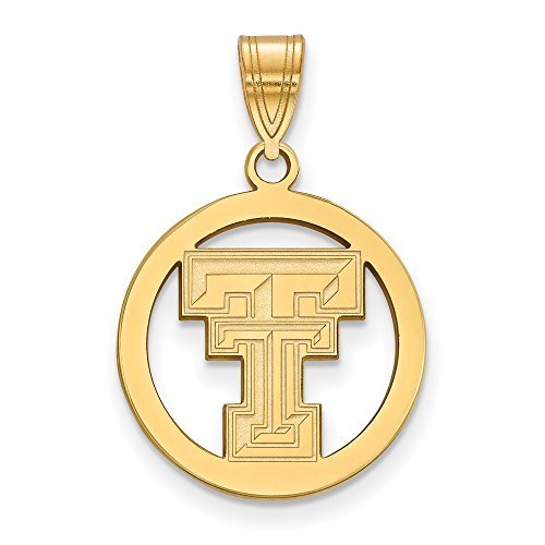 (Jewelry Stores Network Texas Tech Red Raiders School Letters Logo Circle Pendant Gold Plated Silver M - (19 mm x 18 mm))