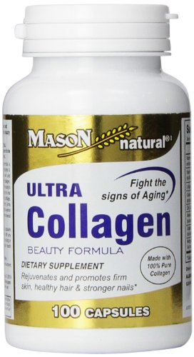 Mason Natural, Ultra Collagen Beauty Formula Capsules, 100-Count Bottle, Dietary Supplement Made with 100% Pure Collagen Supports Healthy, Flexible and Strong Skin and Tissue ()