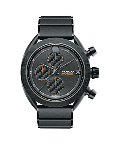 Men's Movado Parlee 0606851 Carbon Fiber Case with a Black PVD-Finished Titanium Link Bracelet