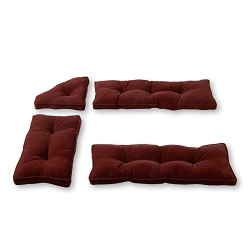 Greendale Home Fashions Nook Cushion Set, Cherokee Solid Microfiber, Wine Pack of 4. by Greendale Home Fashions