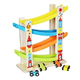 Kasien Toddler Wooden Race Track Car Ramp Racer With 4 Mini Cars for 1 2 Year Old Boy and Girl Gift