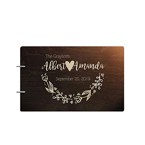 Book Guest Engraved (Just Customized Personalized Handmade Mr Mrs Wedding Guest Book for Bride and Groom Wood Alternative Custom Engraved Newlywed Marriage Album (Design 03, Chocolate Walnut))