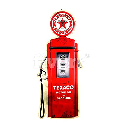 Imprints Plus Texaco Gas Pump Shaped Retro Wall Art Decor Vintage Metal Sign with Hanger and Instruction Card ()