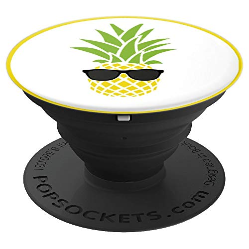 (Tropical Fruit Yellow Pineapple Black Sunglasses Pop Socket - PopSockets Grip and Stand for Phones and Tablets)