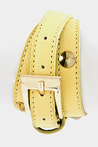 Trendy Fashion Jewelry Stud Accent Buckle Leather Warp Bracelet By Fashion Destination | (Roberto Coin Yellow Bracelet)