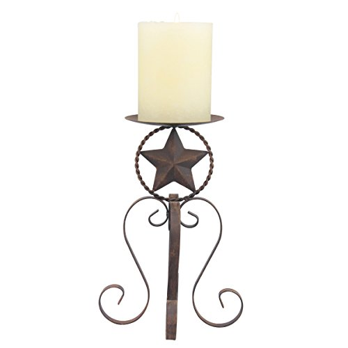 Stonebriar Rustic Western Star Metal Pillar Candle Holder with Rust Color Finish, Decorative Pillar Stand, Country Home Decor Accents, Large For Sale
