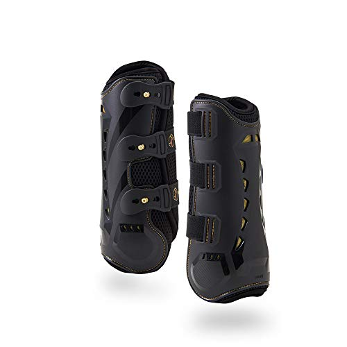 Dressage Boots for Horses by Kavallerie: Pro-K 3D Air-Mesh Horse Boots, Secure Leg Protection, Lightweight and Tough White & Black Dressage Sports Boots [Black] by Kavallerie (Image #6)