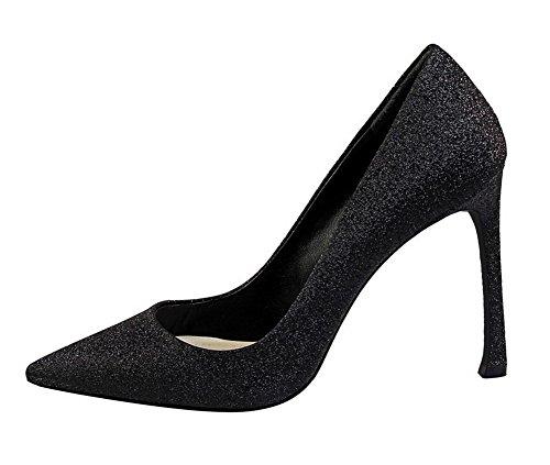 Mujeres Alto De Zapatos Puntera Aalardom Pu Cordones Sin Tacón Cerrada Negro fUxH7qw