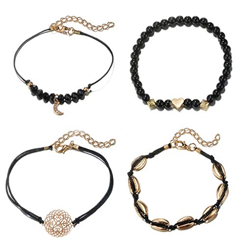 Peigen 4 Piece Alloy Bracelet,Natural Shell Gold Shell Cowry Beaded Friendship Bracelets Boho Fashion Beach Seashell Strand Bracelets Women Jewelry
