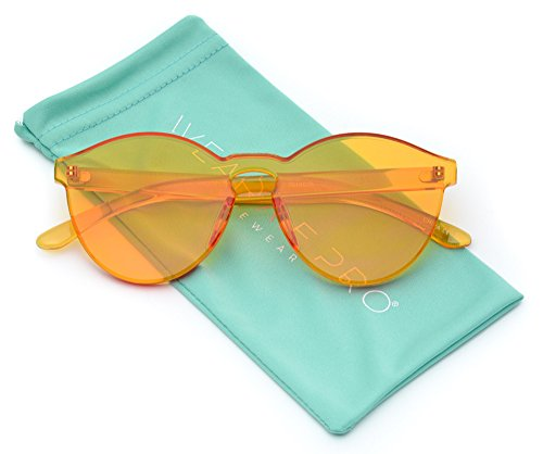 WearMe Pro - Colorful Transparent Round Super Retro Sunglasses (Orange, - Orange Retro