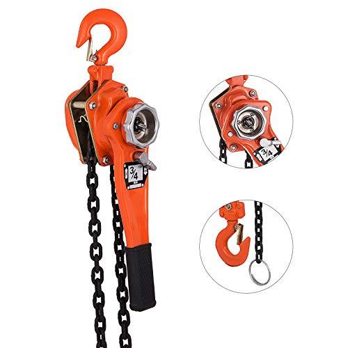 20' Lift - Happybuy 0.75 Ton Chain Hoist 20 FT Lift Lever Block Chain Hoist 1650LBS Chain Ratchet Lever Block Chain Hoist Come Along Lift Puller (0.75 Ton 20ft)