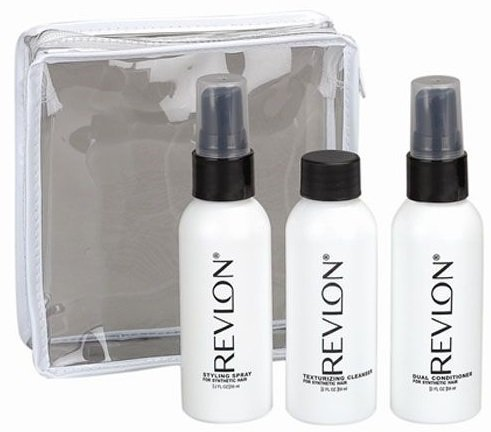 Wig Cleanser - Revlon Wig Travel Kit for Synthetic Hair, 3 Pack - 2 oz. Cleanser, Conditioner & Styling Spray by Revlon