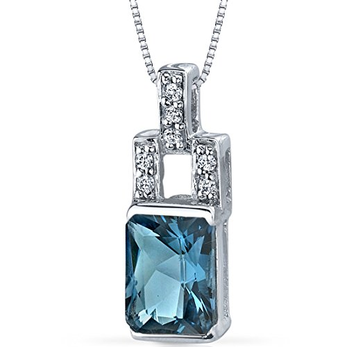 (London Blue Topaz Radiant Cut Pendant Necklace Sterling Silver Rhodium Nickel Finish 2.00 Carats)