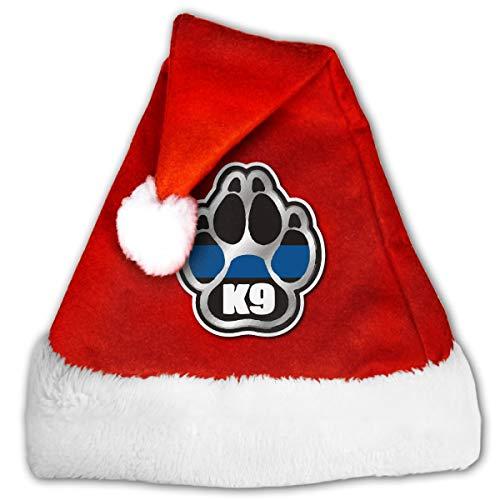FQWEDY K-9 Unit Thin Blue Line Paw Unisex-Adult's Santa Hat, Velvet Christmas Festival Hat ()