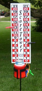 ScoreTower - Scoreboard & Drinkholder for Bocce Ball by Backyard Scoreboards