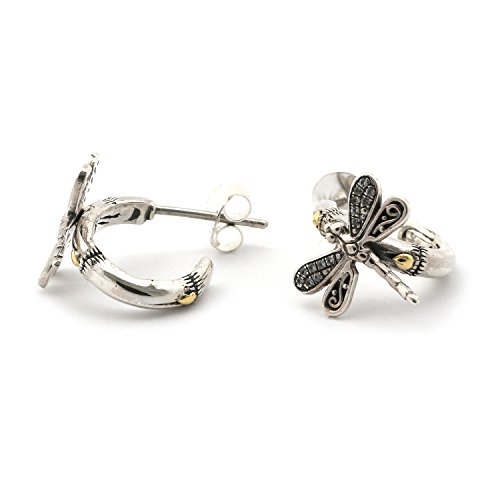 18k Yellow Gold and Sterling Silver White Sapphire Bamboo Dragonfly Hoop (Dragonfly Sapphire Earrings)