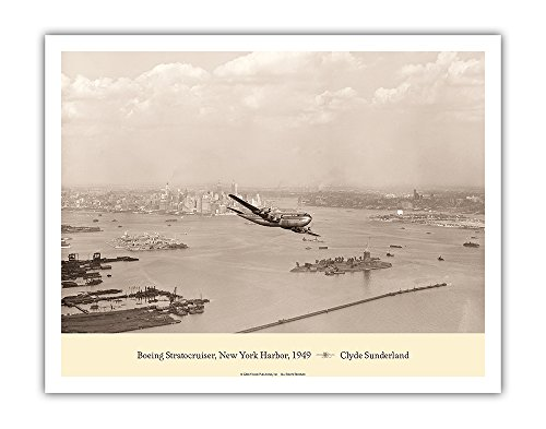 iser - Over New York Harbor, 1949 - Pan American World Airways - Vintage Aviation Poster by Clyde Sunderland - Fine Art Print - 11in x 14in ()