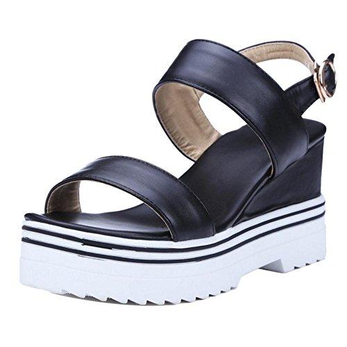 Chaussures De Noir Compensé Cheville Bride Les Coolcept Talon Femmes Sandales Hn4xOfw