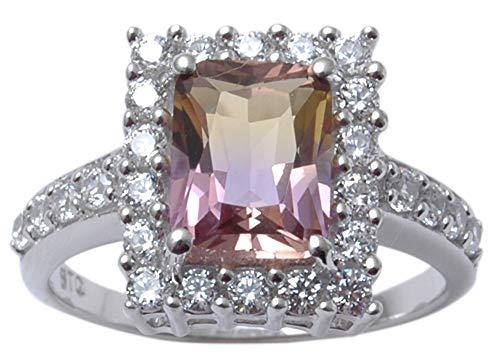 Banithani 9.25 Sterling Silver Charm Ametrine Gemstone Finger Ring Women Fashion Jewelry-7.25
