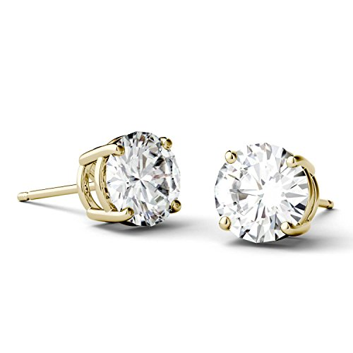 Forever One 6.5mm Round Moissanite Stud Earrings, 2.00cttw DEW (D-E-F) by Charles & Colvard by Charles & Colvard (Image #1)